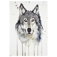 White & Black Iconic Wolf Rug