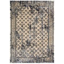 Cream & Steel Grey Artifact Border Traditional Rug