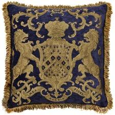 Heraldic Royal Blue Square Cushion