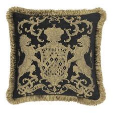Black Heraldic Cushion with Fringe