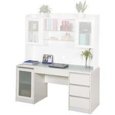 Aspen Credenza Desk in Matte White