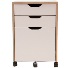 Natural & White Carson Mobile Pedestal Cabinet