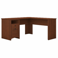 Serene Cherry George L-Shaped Desk with Drawers