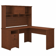 Serene Cherry George L-Shaped Desk & Hutch