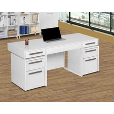 White Sheridan Desk with Mobile Pedestals