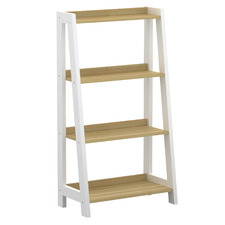 Natural & White Rollins 4 Tier Bookshelf
