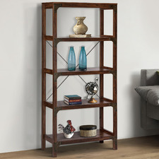 Dark Timber Morrison 5 Tier Bookcase