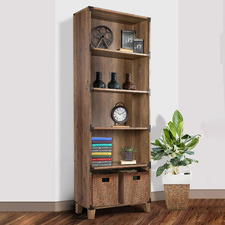 Rustic Dark Timber Oswald Bookcase