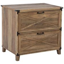 Rustic Dark Timber Oswald 2 Drawer Filing Cabinet