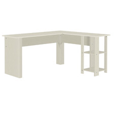 White Hanzila L-Shaped Office Desk