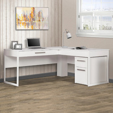 Andy L-Shaped Desk with Mobile Pedestal