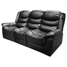 Black PU Leather Alan 3 Seater Recliner Lounge