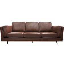 Brown Brooklyn Faux Leather 3 Seater Sofa