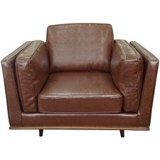 Brown Brooklyn Faux Leather Armchair