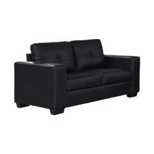 Black Nikki 2 Seater Faux Leather Sofa