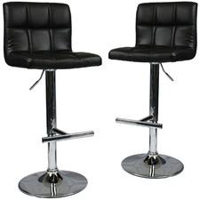 Harley Faux Leather Adjustable Barstools (Set of 2)