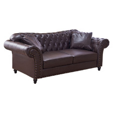 Brown Francis 3 Seater Faux Leather Sofa