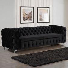 Black Eddard 3 Seater Velvet Sofa