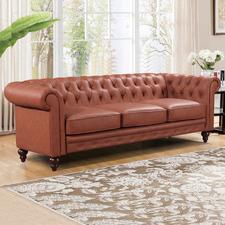 Brown Sansa 3 Seater Faux Leather Sofa