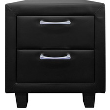 Black Milan Faux Leather Bedside Table