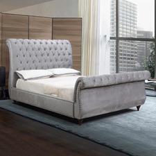 Grey Emery Velvet Bed Frame