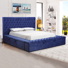 Blue Angeline Velvet Storage Bed
