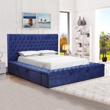 Blue Angeline Velvet Storage Bed