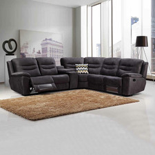 Dark Grey Mercury 5 Seater Velvet Recliner Sofa