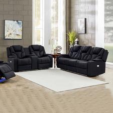 Black Luella 5 Seater Upholstered Recliner Sofa Set