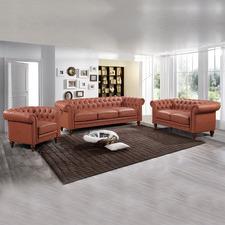 Sansa 6 Seater Faux Leather Sofa & Armchair Set