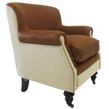 Mils Club Leather Linen Chair