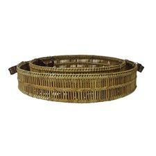 2 Piece Garove Bamboo Tray Set