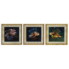 3 Piece Lion Fish Framed Paper Print