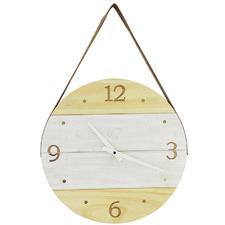 41cm Natural & White Lutton Round Wood Clock