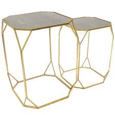2 Piece Aged Gold Megan Side Table Set