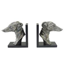 2 Piece Black & Silver Greyhound Bookend Set
