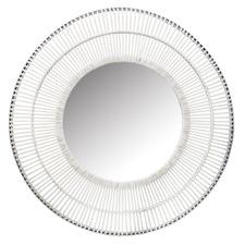 White Como Round Rattan Mirror