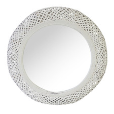 White Miara Round Rattan Mirror (Set of 2)
