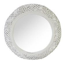 White Miara Round Rattan Mirror