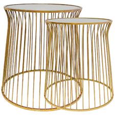 2 Piece Hoffman Mirror-Top Nesting Side Table Set