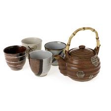 Stoneware 5 Piece Tea Set in Brown