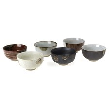 Stoneware 6 Piece Bowl Set in Brown