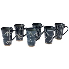 Stoneware 6 Piece Mug Set in Bamboo Blue