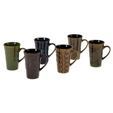 Stoneware 6 Piece Mug Set in Brown