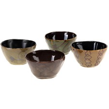 Stoneware 4 Piece Bowl Set in Brown