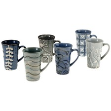 Stoneware 6 Piece Mug Set in Blue