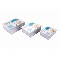 Flower Square Storage Box in Blue (Set of 3)