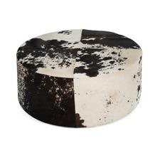 Round Cow Hide Ottoman