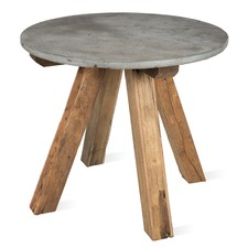 Hubert 4 Seater Recycled Wood & Stone Round Dining Table