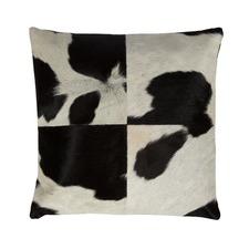 Black & White Square Block Cow Hide Cushion